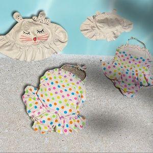 Polka dot one piece swimsuit & Kitty cat sun hat